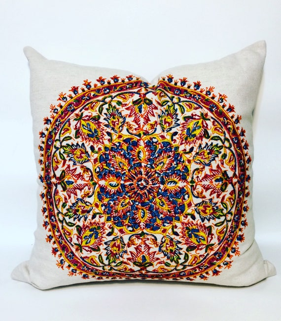 Hand printed Mandala pillow, traditional block printed linen blend cushions, mandala design, bohemian pillows, multicolored pillow