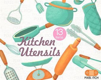 KITCHEN CLIP ART. Kitchen Utensils Clipart. Handmade cooking clipart. Baking clipart. Recipe clipart. Spoon, Ladle, Whisk, Spatula, Pan.