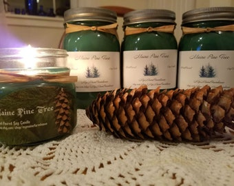 Maine Pine Christmas Handmade Soy Candle Scented Gift Holiday Country Farmhouse Decor Rustic Unique Mother's Day Gift Centerpiece Bestseller
