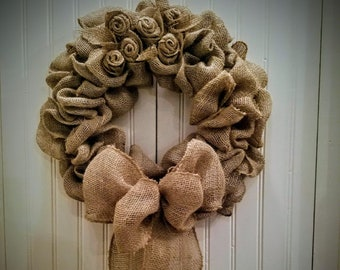 Rustic Burlap Wreath Farmhouse Mother's Day Grandmother Aunt Sister Unique Gift Country Shabby Chic Natural Teacher Appreciation Daughter