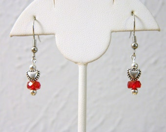 Beautiful Red Bead and Heart Petite Pierced Earrings Silver Tone Great Gift or Accessory