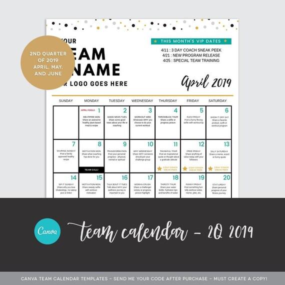 Canva 2q 2019 Team Calendar Template Etsy
