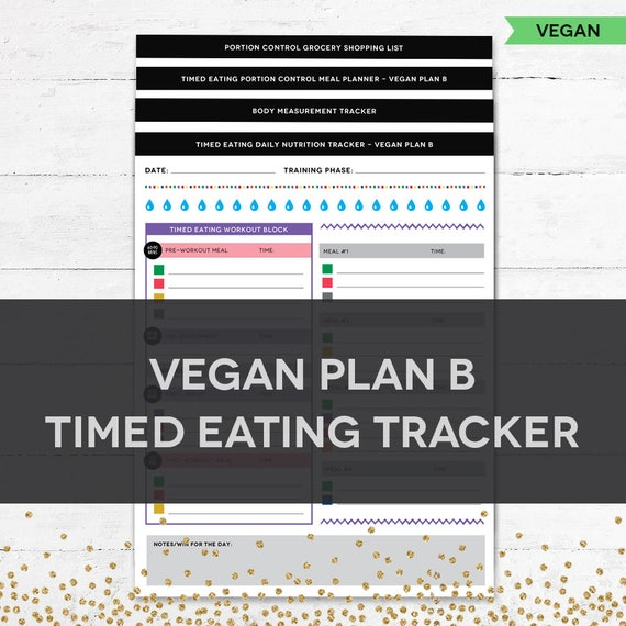 timed eating planner tracker vegan plan b etsy