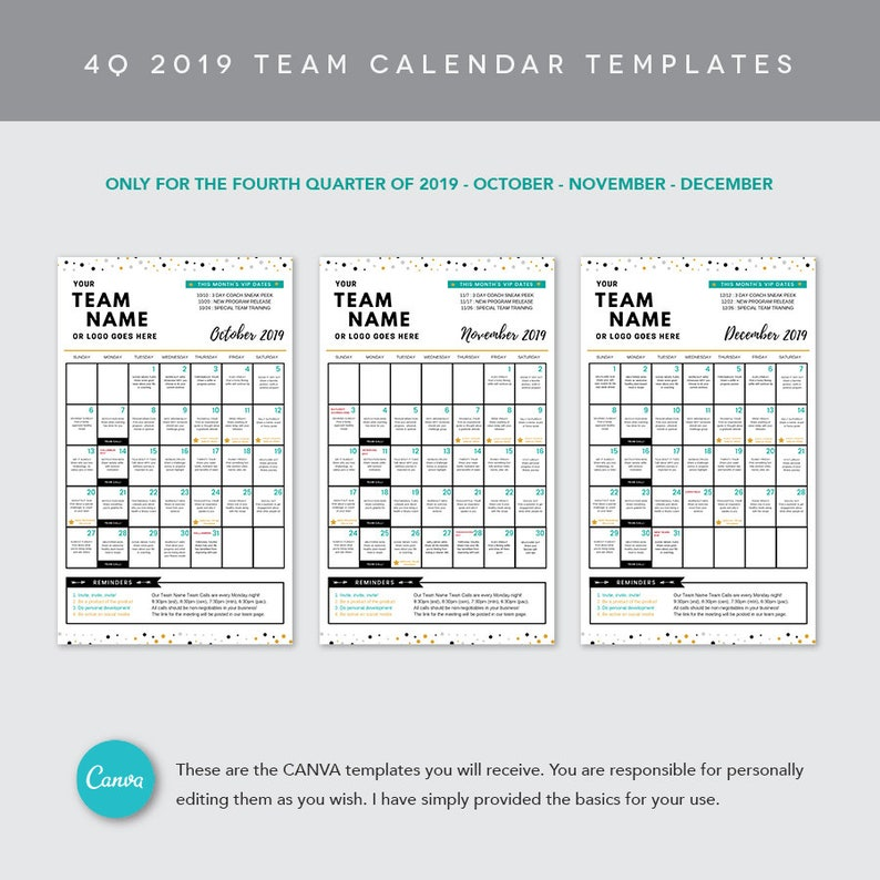 November - December 2019 Calendar Canva CANVA 4Q 2019 Team Calendar Template | Etsy