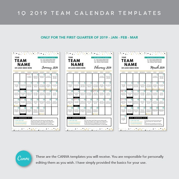 Canva 1q 2019 Team Calendar Template Etsy