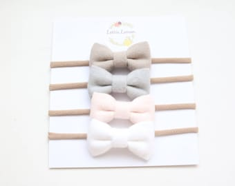 Soft essential bow set/ baby headbands/ nylon headbands/ cute baby bows/ newborn headbands/ toddler bows