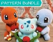 Crochet Pattern BUNDLE Bulbasaur, Charmander, Squirtle Amigurumi PDF Files