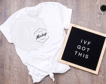 Download Free Bella and Canvas | Unisex Jersey Short-Sleeve T-Shirt | White | Shirt Mockup | Shirt Flat Lay | Bella Canvas | Letter Board | IVF PSD Template