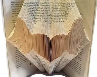 Heart with wings book folding pattern,  Winged heart memorial gift for friend, relative, pet, Free book folding tutorial. Instant download