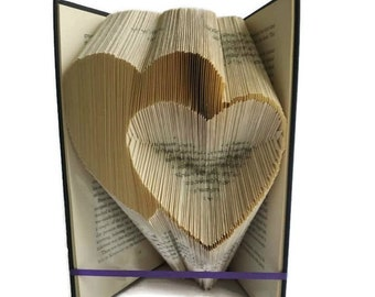 Hearts book folding pattern,  Love hearts for anniversary / Valentines day,  Free book folding tutorial. PDF instant digital download