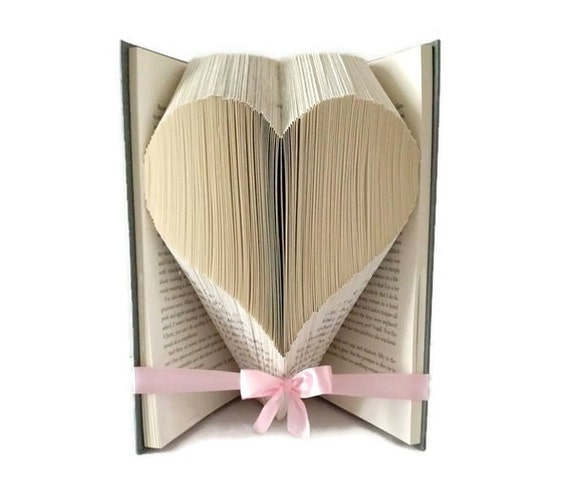 Heart Book Folding Pattern Love Heart For Valentines Day Etsy Enchanting Book Folding Patterns Free Download