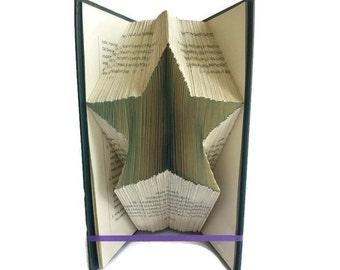 Star book folding pattern,  Simple star book art. Unique Home or nursery decor. Free book folding tutorial. PDF instant digital download