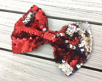 """5""""Red Silver Sequin Bows NO CLIP Reversible Sequin Bow, Fabric Bow, DIY Bows, Diy Hair Bows, Headband, Wholesale Bow Messy Sequined Bow"""
