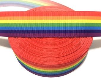 Rainbow Ribbon, Colorful Ribbon, Rainbow Grosgrain Ribbon, Printed Ribbon