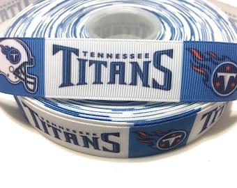 "1"" Tennessee Titans Ribbon, Titans Grosgrain Ribbon, Football Team Ribbon"