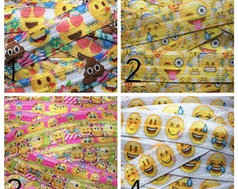5/8 Emoji Elastic, Emoticon Elastic, Emoji FOE, Emoji Fold Over Elastic, Emoji elastic for Hair Tie, Elastic by the Yard