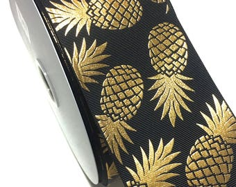"3"" Gold Pineapple Ribbon Foil Pineapple Grosgrain ribbon, Cheer Bow Grosgrain Ribbon"