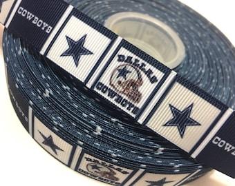 Dallas Cowboys Ribbon, NFL Ribbon, Cowboys grosgrain Ribbon