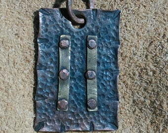 Keychain Pendant, Hammered and Riveted Copper and Brass