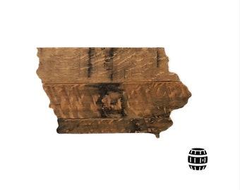 Bourbon Barrel Iowa State Cutout, Whiskey Barrel | 11.5 X 7.25in. | Bourbon Lovers | Whiskey lovers | Iowa State | Iowa Wedding | Bourbon