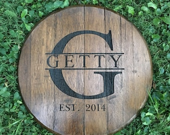Bourbon Barrel Head | Custom & Engraved. Name or Business Logo | whiskey barrel top | Bourbon gift | Whiskey Gift | Reclaimed Barrels
