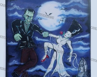 Dancing in the moonlight, Frankenstein and his Bride, Halloween romantic print