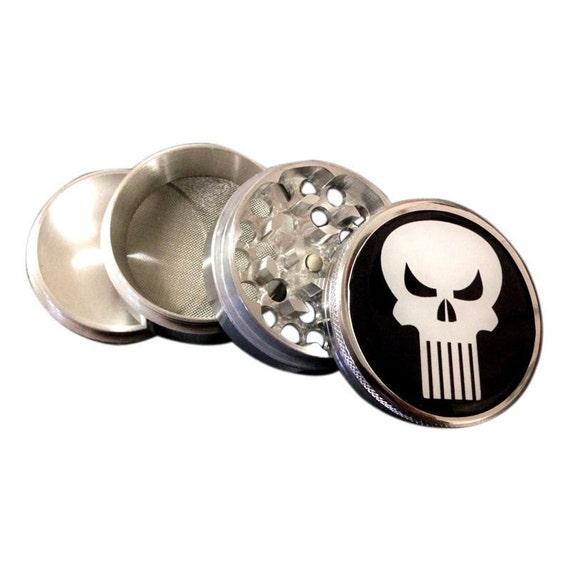 black Punisher themed 4 piece herb grinder