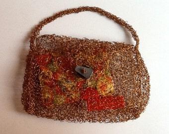 Copper wire knit purse