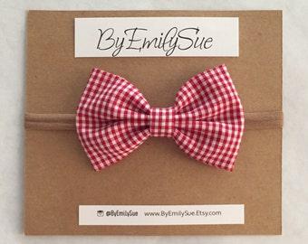 Red Plaid bow baby nylon headband | baby headband | nylon headband