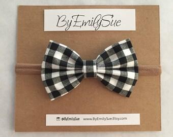 Black Plaid baby bow nylon headband | baby bow | baby headband