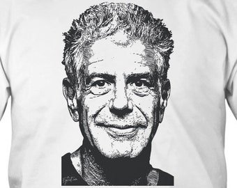 80ae3407c4aa Anthony Bourdain Shirt, RIP Anthony Bourdain Shirt, American Celebrity  Chef, White Unisex up to 5XL Designed by Egoteest