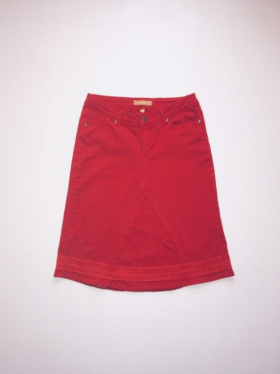 cheap for sale speical offer how to get Ladies Size 4 Red Denim Jeans Skirt