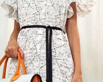White dress, sketch patterns black flounced sleeves