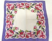 Vintage 1940s Handkerchief Pink Purple Flower Hankie Green Leaf Detail Retro Floral Accessory Wedding Gift