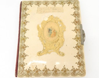 Late 1800s Photo Album...Celluloid Photo Album...Velvet Spine...Victorian Angels & Scroll Design...Pictures Cabinet Cards Included Tin Type
