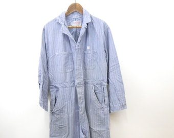 88b79b6150d Vintage Coveralls....1950s Men s Denim Coveralls...Work Wear...Herringbone Denim  Coveralls Size 44....Herringbone Denim Jumpsuit