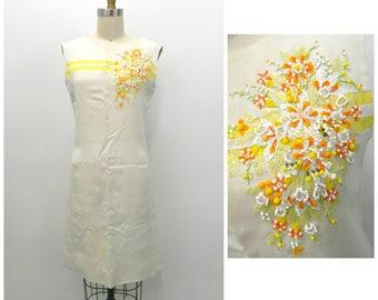 1434db5532 Vintage 1960s Shift Dress with Pockets ... Cream Linen Sleeveless Dress ..  Ornate Flower Bead Work .. Size Small...Metal Zipper