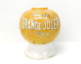 Early 1900s Howel's Orange Julep Soda Syrup Dispenser Bowl...Porcelain Rare Collectible...Soda Syrup Fountain Dispenser..Orange & White