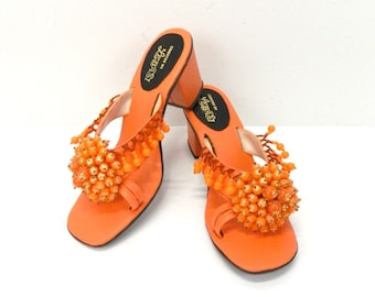 0bb7937e4 1970s Women s Sandals...Orange Beaded Gold Shimmer Sandals...Size 8...Ladies  Mule Retro Sandals...Lebasi Philippines Open Toe Heels...Disco