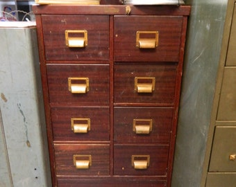 1940s Metal Medical Filing Cabinet...9 Drawer Cabinet...Medico Stationary  Service...Organization Storage Furniture Piece