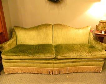 Charmant 1960s Green Velvet Couch...Large Decorative Sofa...Retro Green Velvet  Material...Fringe Base Detail...Amazing Condition..Local Pickup!