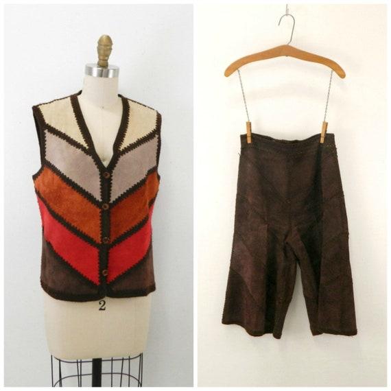 Vintage Suede Gaucho Pants & Vest ... Chocolate B… - image 2