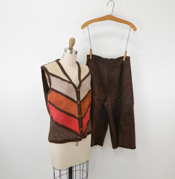 Vintage Suede Gaucho Pants & Vest ... Chocolate B… - image 1
