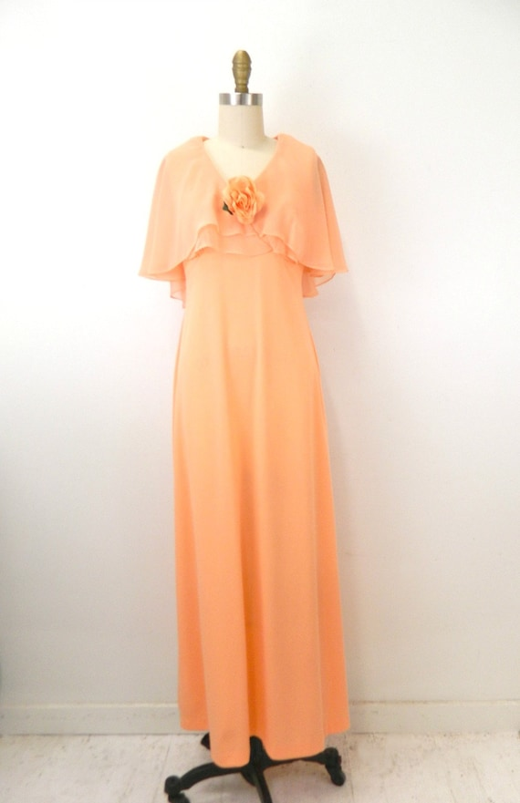1970s Maxi DressRetro Peach Maxi DressButterfly SleevesFlower DetailPolyester CrepeEmpire Waist..Size Small Bridesmaids Dress