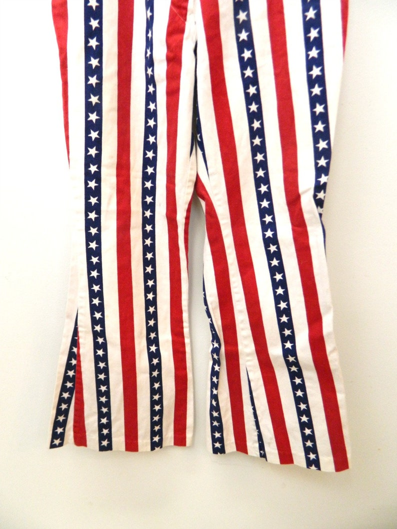 1970s Stars /& Stripes Denim Jeans...Bell Bottom Jeans...Red White Blue Americana Denim Pants...Miss Holly Size X Small to Small