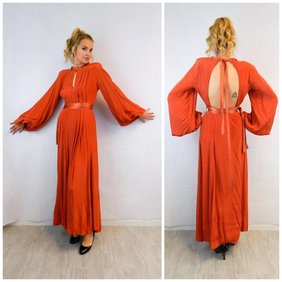 Ossie Clark for Quorum Burnt Orange Dress, Vintage