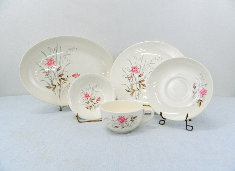 American Made Pottery Ecru with Pink Tea Roses Vintage Tea Rose China .. Grey 33-Piece Set Service for 8 .. Brown Leaves .. Teal