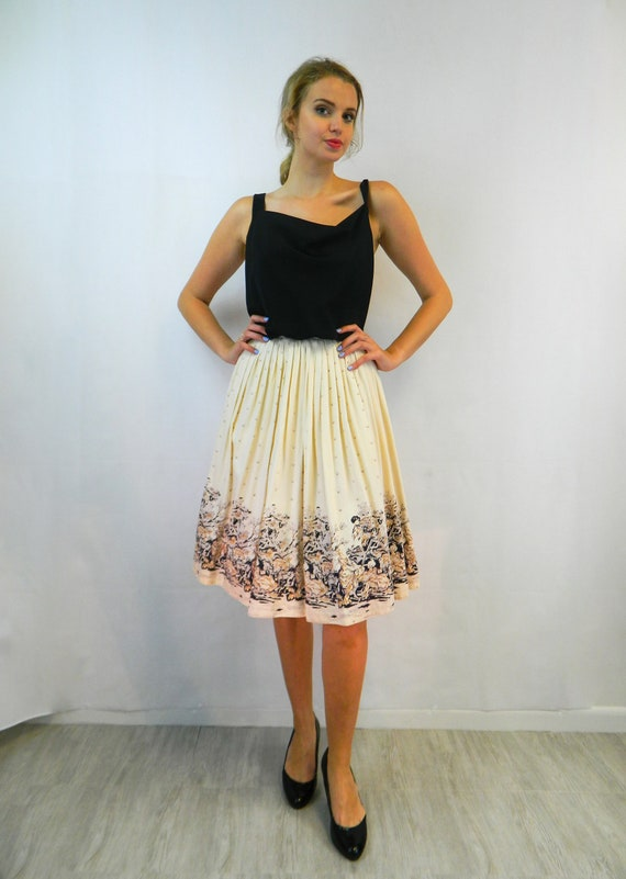 Novelty Print Circle Skirt, XS ... Vintage 40s/50s