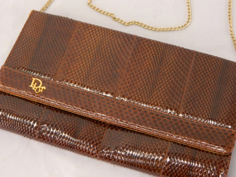 e112fcfe Vintage 50s/60s Christian Dior Clutch ... Brown Patent Snake   Etsy