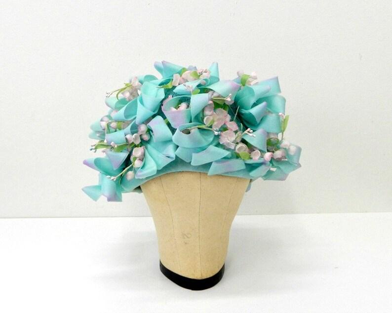 7769a7208d5 Vintage Christian Dior Hat ... 1960s Aqua Organdy Ribbon